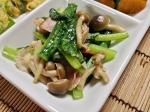 小松菜としめじのオリーブ炒め