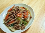 挽き肉と野菜の中華炒め