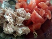 春菊とトマトのツナぽん酢