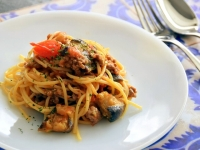 10分で簡単!茄子とミートソースのスパゲティー