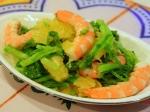 海老と菜花とポンカンの和え物