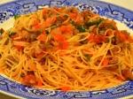 野菜たっぷりのミートソーススパゲティー